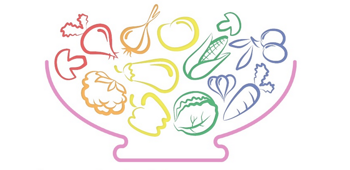 Illustration of rainbow coloured vegetables in a bowl