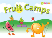 Illustration of cartoon fruit exercising.