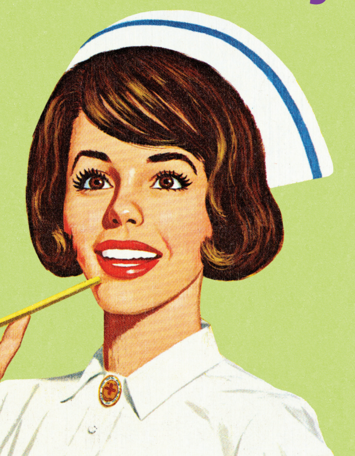Illustration of female nurse with brown hair smiling